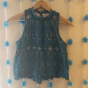 Teal lacy mock neck tank top with button closure